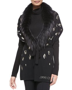 Jimmy Choo   - Sequin-Embroidered Fur Scarf