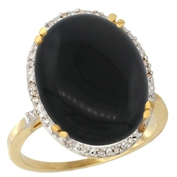 Gabriella Gold - Large Oval Onyx Ring