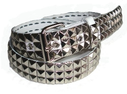 Belts And Studs - Studded White Snap On Belt