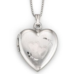 JC Penney - Sterling Silver Double Heart Locket Necklace