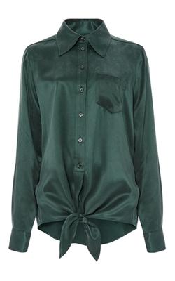 Equipment - Green Silk Archive Luis Tie Front Shirt