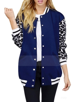 Haolicheng - Leopard Printed Baseball Jacket