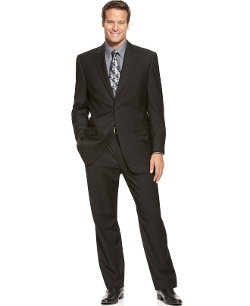 Izod - Two-Button Black Solid Suit