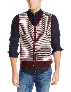 Haggar - Stripe Button Front V-Neck Sweater Vest