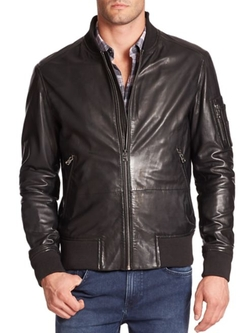 Hugo Boss  - Mirek Leather Bomber Jacket