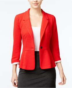 Kensie - Ribbed One-Button Blazer