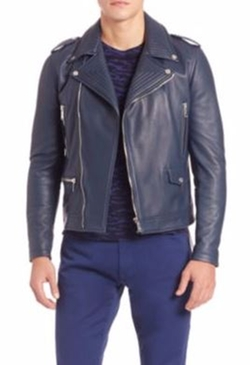 Kent and Curwen  - Asymmetrical Front Leather Biker Jacket