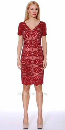 NUE by Shani  - Scalloped Lace Halter Dress