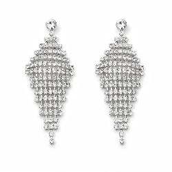 Top Whole Sale Jewel - Diamond Shape Rhinestone Dangle Earrings