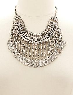 Charlotte Russe - Dangling Coin Bib Necklace