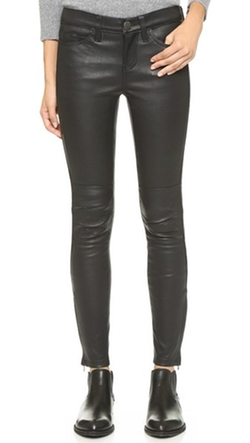 Current / Elliott - The Stretch Leather Moto Pants With Ankle Zips
