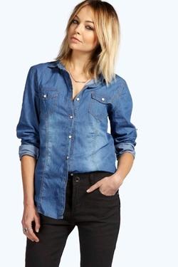 Boohoo Blue - Dark Wash Denim Shirt