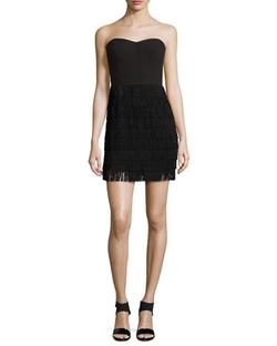 Aidan Mattox - Tiered Fringe Strapless Mini Dress