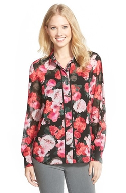 Ellen Tracy - Piped Print Blouse