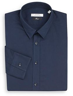 Versace Collection  - Solid Stretch Cotton Dress Shirt