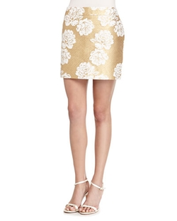 Essentiel Antwerp - Metallic Floral-Print Tweed Skirt