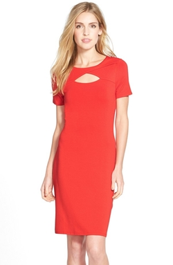 Vince Camuto  - Keyhole Detail Jersey Stretch Sheath Dress