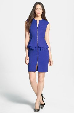 Ted Baker London - Structured Peplum Cotton Blend Sheath Dress