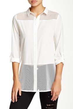 BLVD  - Duo Fabric Button Down Blouse