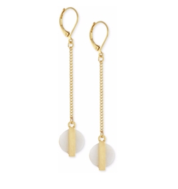 BCBGeneration - Gold-Tone Circle Shell-Look Linear Drop Earrings