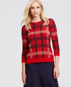 Ann Taylor - Plaid Jaquard Sweater