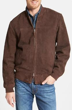 Nordstrom  - Regular Fit Suede Bomber Jacket