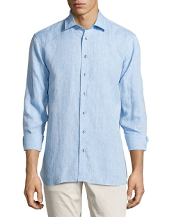 Neiman Marcus - Regular-Finish Classic-Fit Linen Sport Shirt