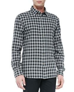 Star USA  - Long-Sleeve Button-Down Plaid Shirt, Brown
