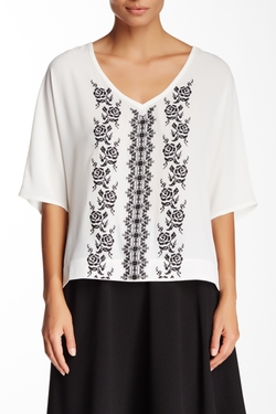 Bobeau  - Crepe Embroidered Front V-Neck Blouse