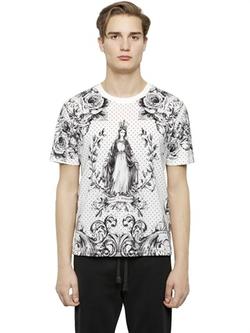 Dolce & Gabbana - Madonna & Polka Dot Print Cotton T-Shirt