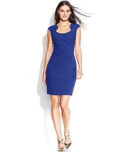 Calvin Klein  - Cap-Sleeve Cutout-Neckline Sheath Dress