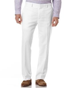 Cubavera - Linen Blend Flat Front Herringbone Pants