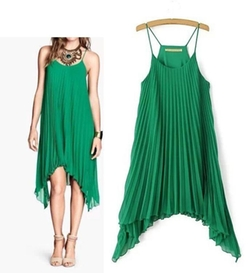 Eloqueen  - Sleeveless Pleated Chiffon Dress