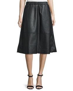Bagatelle  - Faux-Leather A-line Midi Skirt