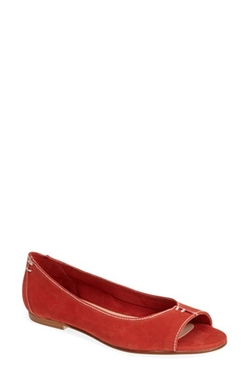 French Sole - Naan Calfskin Leather Peep Toe Flat