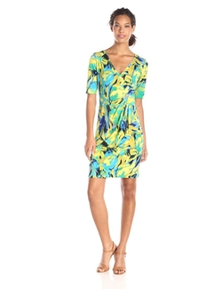 Tiana B  - Short-Sleeve Faux-Wrap Dress