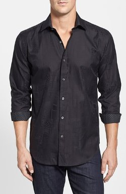 Bugatchi - Shaped Fit Cotton Sport Shirt
