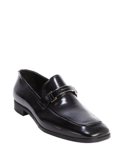 Prada - Black Leather Logo Detail Penny Strap Loafers