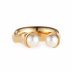 Chloe Darcey  - Brass Open Pearly Ring