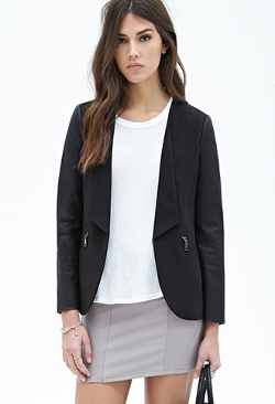 Forever 21 - Collarless Faux Leather-Sleeve Blazer