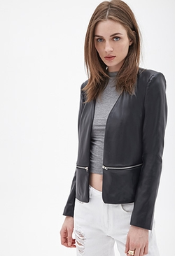 Forever 21 - Faux Leather Collarless Jacket