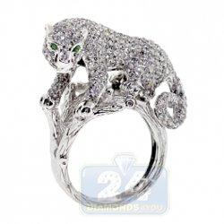 24Diamonds - Diamond Pave Womens Panther Cat Ring