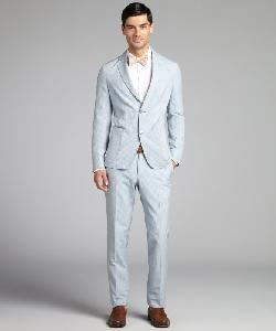 Ermenegildo Zegna -  Light Blue Striped Cotton Blend Two Button Suit With Flat Front