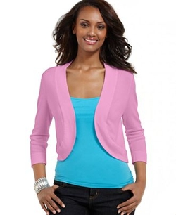 Jessica Howard  - Three-Quarter-Sleeve Petite Open-Front Cardigan