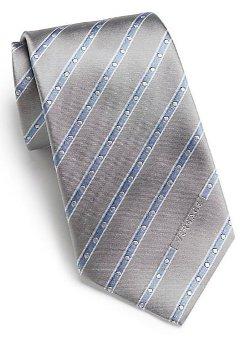 Versace -  Dotted Striped Silk Tie