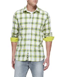 Diesel  - Yarn Dyed Plaid Button-Down Shirt, Green