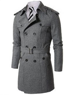 Doublju  - Mens Wool Coat with Belt