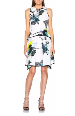 Proenza Schouler - Printed Viscose Georgette Waisted Dress