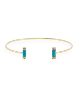 Sydney Evan  - Double Turquoise Roll Cuff Bracelet with Diamonds