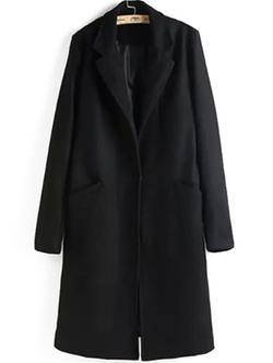 Romwe - Lapel Long Sleeve Woolen Coat